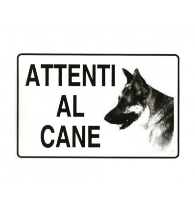 Cartello plastificato 'Attenti al cane'